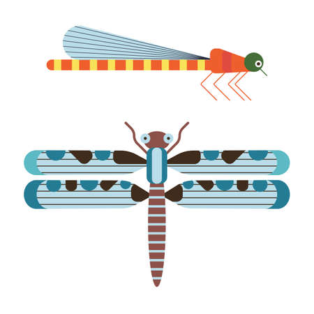 Dragonflies Icon in Geometric Flat Style 向量圖像