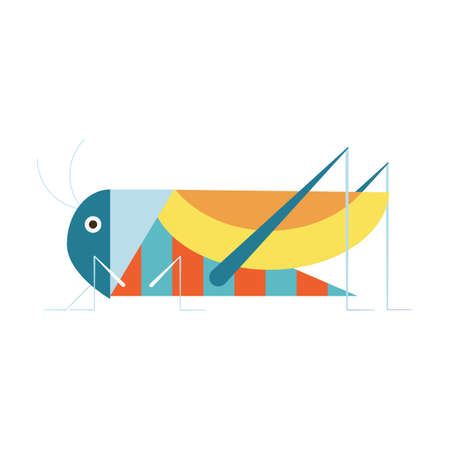 Sitting Grasshopper Insect Icon in Flat Design