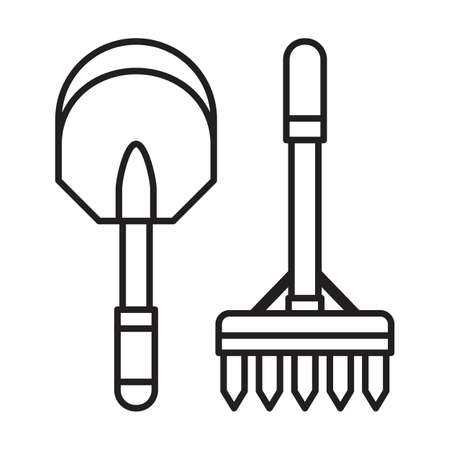 Spade Shovel and Garden Rake Line Icon