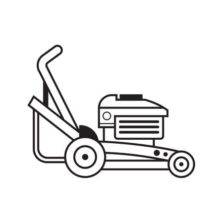 Lawn Mower Grass Cutter Line Art Icon  イラスト・ベクター素材