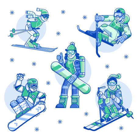 Winter Sports Man and Woman Line Icons  イラスト・ベクター素材