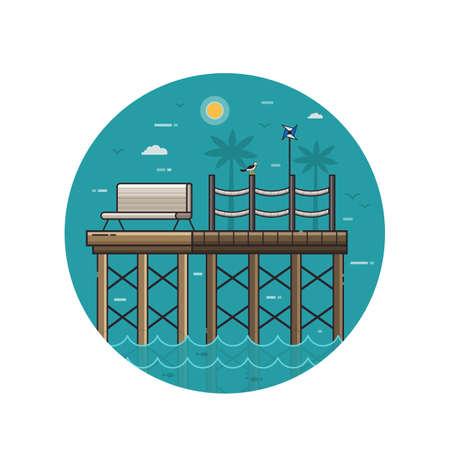 Sea Pier Seaside Icon in Line Art