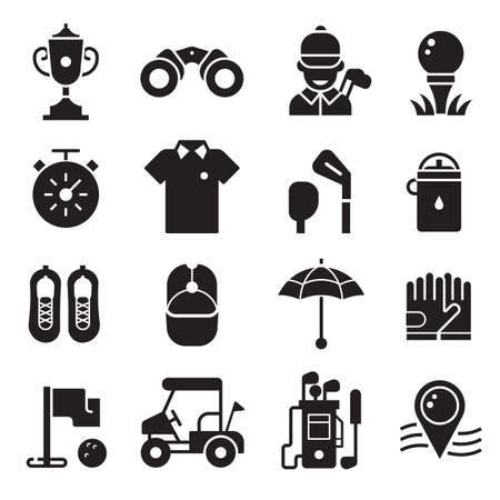 Golf Icons Set in Outline Silhouette Style