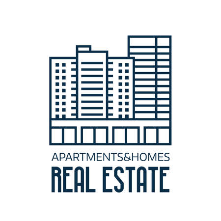 Real Estate Agency Logo in Line Art Illustration