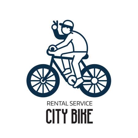 Bike Rental Service Logo Template in Line