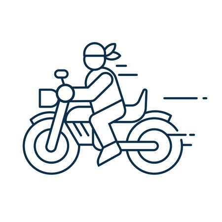 Biker Ride on Chopper Icon in Line Art