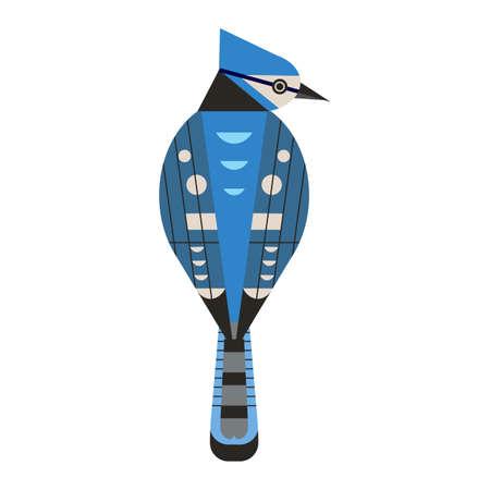 Blue Jay Bird Icon in Flat Design