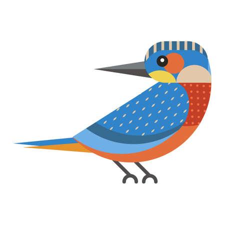 Kingfisher Bird Geometric Icon in Flat Design