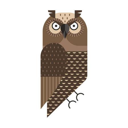 Grumpy Owl Geometric Icon in Flat Design Illustration