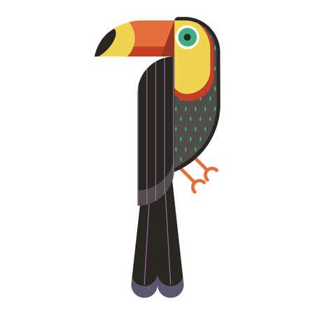 Toucan Bird Geometric Icon in Flat Design