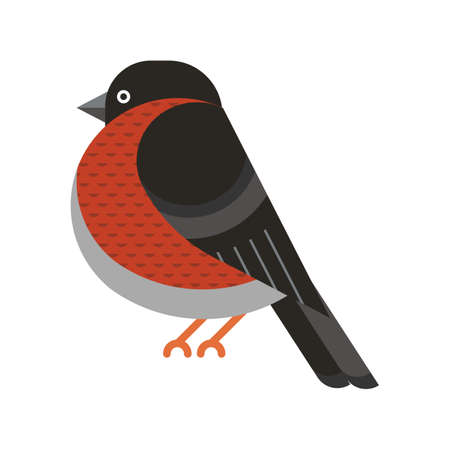 Bullfinch Bird Geometric Icon in Flat Design Illustration