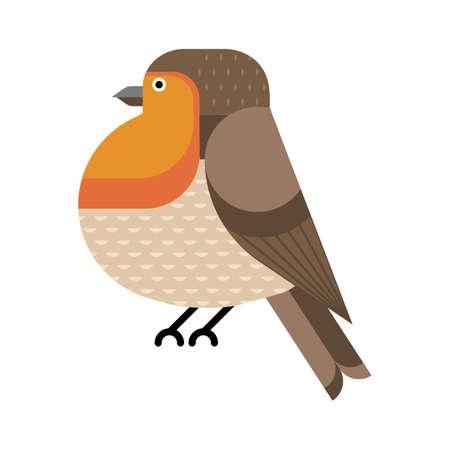 European Robin Birds Geometric Icon in Flat Illustration