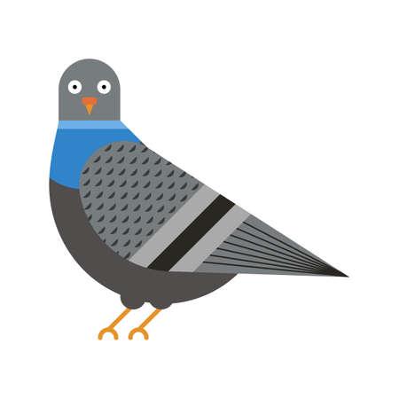 City Pigeon Bird Geometric Icon in Flat