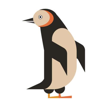 Penguin Aquatic Bird Geometric Icon in Flat
