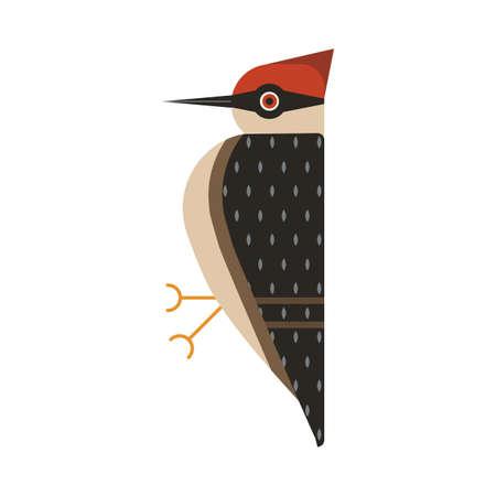 Red Head Woodpecker Bird Geometric Flat Icon Illustration