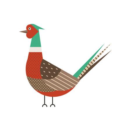 Common Pheasant Bird Geometric Icon in Flat
