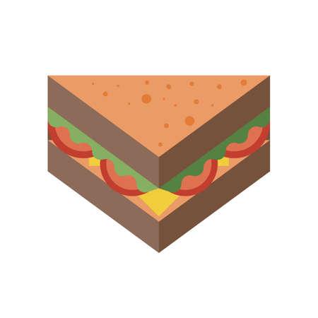 Triangle Sandwich Fast Food Icon in Flat