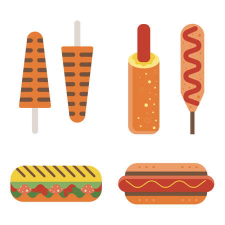 Hot Dogs and Fast Food Sandwiches Icons
