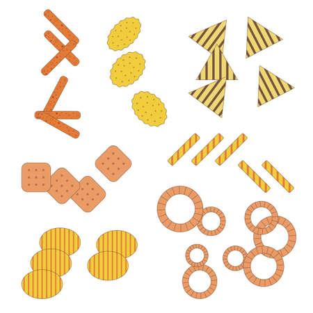 Munchies Fast Food Crunchy Snacks in Flat Ilustração