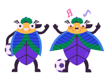 Beetle Boy Football Player Character in Flat