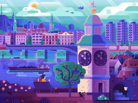 Novi Sad and Petrovaradin Romantic Travel Poster