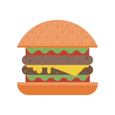 Flat Burger or Cheeseburger Fast Food Icon Ilustração