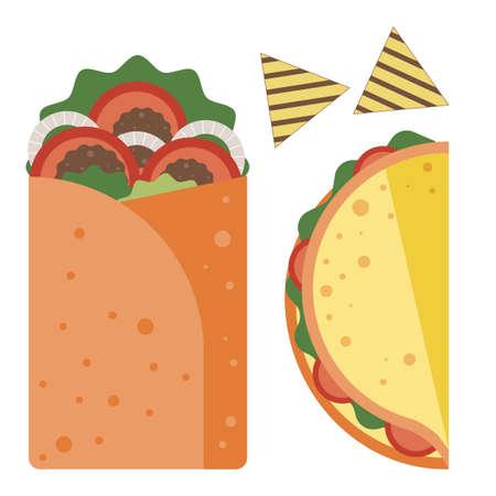Mexican Fast Food Icons in Flat Design Ilustração