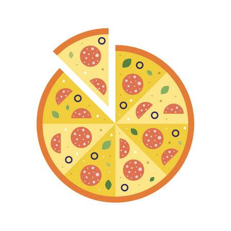 Italian Pizza Sliced with Salami Flat Icon Ilustração