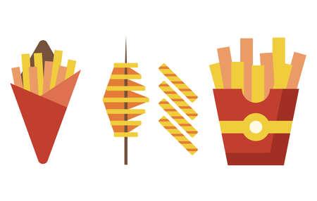 Fried Potatoes Fast Food Munchies Flat Icons