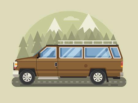 Road Trip Scene with Cartoon Family Pickup