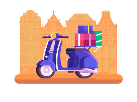 City Delivery Service with Scooter Flat Icon