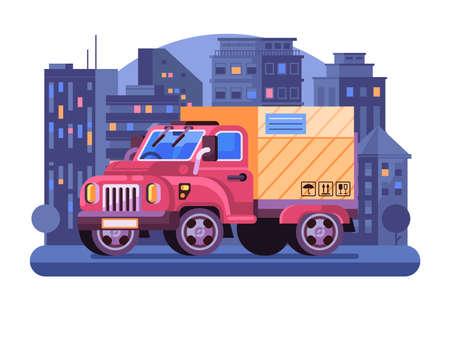 Delivery Van with Parcel in Flat Design