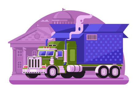 Delivery Truck with Gift Box in Flat