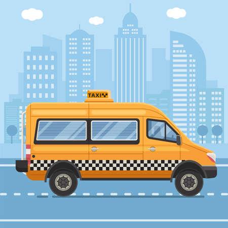 Yellow Taxi Mini Van in Flat Design