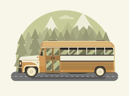Vintage Bus Travel on Highway in Flat