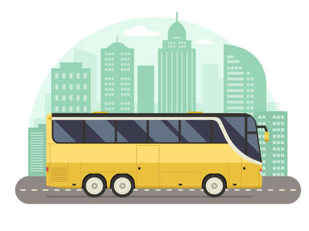 Yellow City Bus Concept in Flat Design