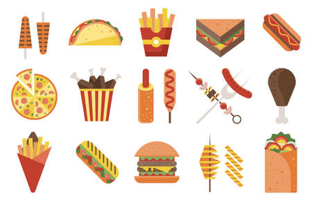 Fast Food and Junk Food Icons Set
