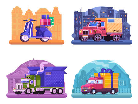 Car Delivery Service Scene in Flat Design