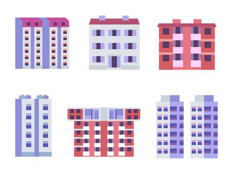 Block City Apartments Buildings in Flat Design