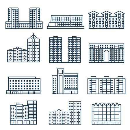 Block City Apartment House Buildings in Lineart Ilustrace