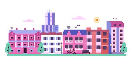 Modern City Street Landscape in Flat Design Ilustrace