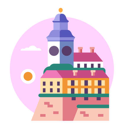 Novi Sad Clock Tower Icon in Flat