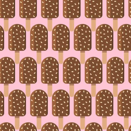 Chocolate Ice Cream Seamless Pattern in Flat