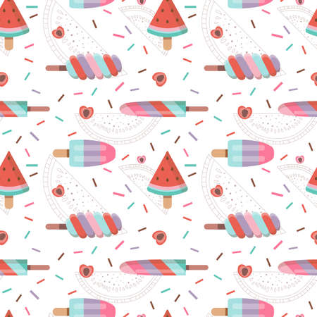 Fruit Ice Cream Seamless Pattern in Flat
