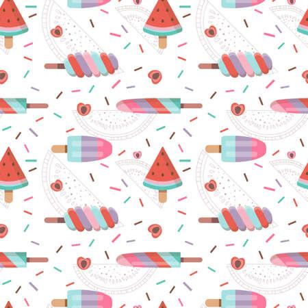Fruit Ice Cream Seamless Pattern in Flat Imagens - 167276110