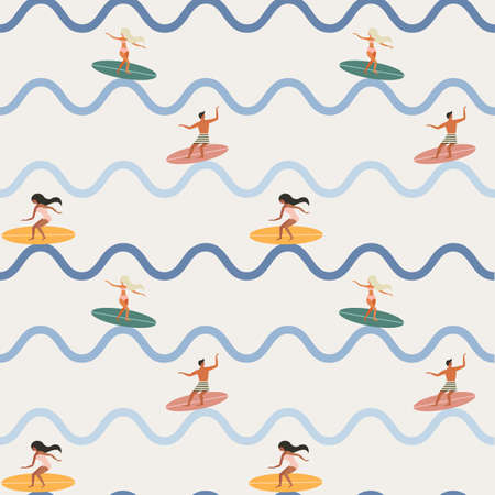Vintage Surfing People on Waves Seamless Pattern