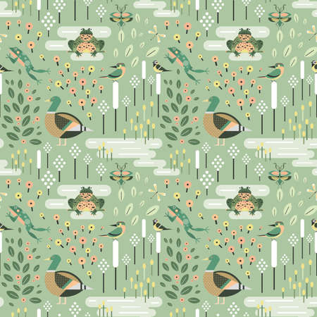 Pond Animals and Plant Life Seamless Pattern
