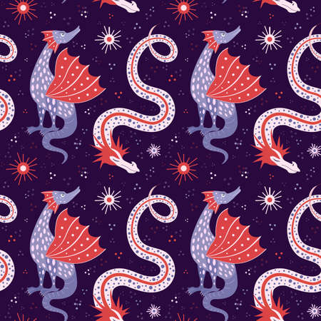 Cartoon Chinese Dragon Fairy Tale Seamless Pattern