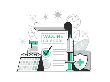 Vaccination Campaign Calendar Concept in Line Art