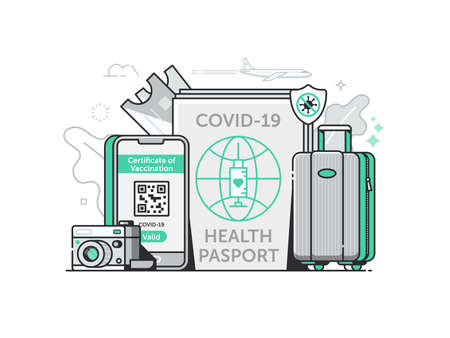 Covid Vaccine Health Travel Passport in Line